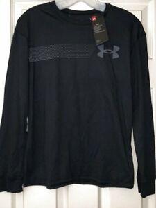 NWT Under Armour Logo Boy's XL Black Long Sleeve T-shirt