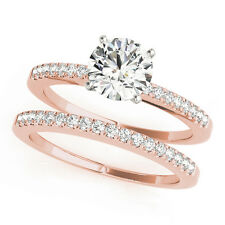 Classic Petite Diamond Engagement Ring & Wedding Band Bridal Set in Rose Gold
