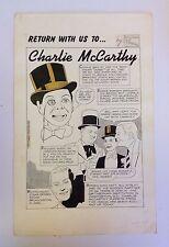 Charlie McCarthy Original Art Splash Page 1985 Bill Owen Don Sherwood Comic Art