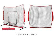 PowerNet 8 ft x 8 ft XLP PRO Hitting Net w/Frame + Barrier Protection Screen