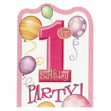 1st BIRTHDAY GIRL - Pink Number One Invitations,Party Supplies Invites Envelopes