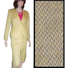 ACHILLE DATTILO COUTURE Designer Suit $999 Linen Herringbone 8 Yellow Tweed