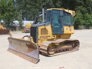 "2009 John Deere 550J LGP Crawler Dozer Tractor 129"" 6-Way Blade Cab A/C bidadoo"