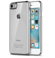 FUNDA  IPHONE 8 4.7 SILICONA GEL TRANSPARENTE CARCASA BORDE GRIS PLATA
