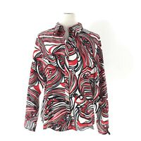 Foxcroft Blouse Size 12 Wrinkle Free Fitted Top Red Black White Button Shirt L