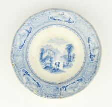 Antique Victorian Blue and White English Plate England Pottery Old Bread Butter