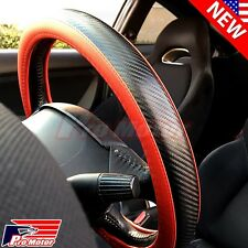 Red Premium 3D Carbon Fiber Leather Steering Wheel Cover Protector Slip-On 2017