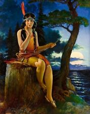 LRG Canvas MOON GLOW Deco American INDIAN Maiden Maid GICLEE Pinup ILLUSTRATION