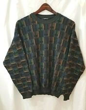 Monello Wool Sweater Mens Sz 2x 52 Multi-color Coogi Style Color Block Vtg Italy