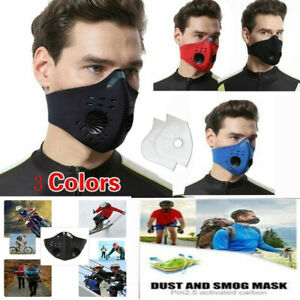 Washable PM2.5 Anti Air Pollution Haze Face Mask Respirator Mouth Valved Filters