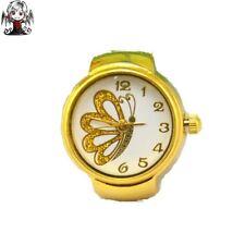 Watch ring gold butterfly + gift earrings