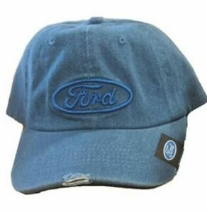Ford Blue Oval Denim Hat - Distressed Style * Unique & Cool * Free USA Shipping