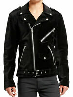 Gothic Moto Black Velvet Motorcycle Jacket Punk Fetish EMO Biker Jacket All size