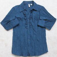 Blue Dress Shirt St. John's Bay 3/4 Sleeve Medium Polyester Cotton Top Women's