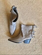 Zara Taupe Beige Leather Suede Fringed Cowbow Western Boots UK9 EU42 US11 # 567