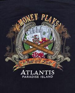 Atlantis Paradise Island T Shirt Mens XL Casino Poker Texas Hold Em Black Jack
