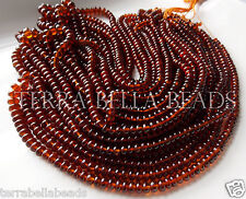 "7"" half strand AAA HESSONITE GARNET smooth gem stone rondelle beads 4mm - 5mm"