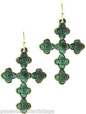 "pattern Cross Earrings 1 1/2"" Drop Vintage style Aged Finish Patina Gold floral"