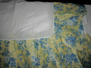 Laura Ashley Twin Size Blue & Yellow floral prints Ruffled Bedskirt NWOT