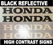 2x HONDA Black Reflective SAFETY Motorcycle Helmet Sticker HiViz riding