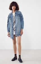 NEW Urban Outfitters Blank NYC Long Denim Distressed Cone Studded Jacket M