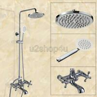 Wall Mounted Chrome Brass Bathroom Rain Shower Faucet Set W/Tub Mixer Tap Ucy326