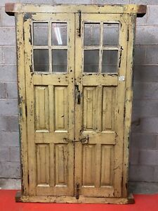 ANTIQUE VINTAGE RUSTIC INDIAN GLASS PANEL WOODEN DOOR WITH FRAME