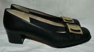 Salvatore Ferragamo Boutique Black Leather Square Toe Gold Logo Pump US 5.5 UK 3