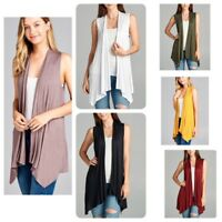Women's Sleeveless Solid Draped Open Front Cardigan Vest(S-XL)