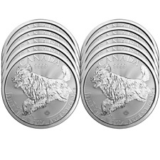 Lot of 10 - 2018 $5 Silver Canadian Wolf Predator Series 1 oz Brilliant Uncircul