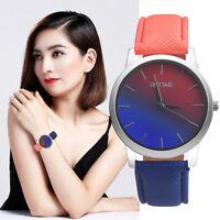 Fashion Women Retro Rainbow Design Leather Band Analog Alloy Quartz Wrist Watch