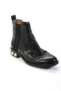 Louise et Cie Womens Leather Faux Pearl Chelsea Boots Black Gold Size 8.5