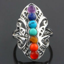 Thumb Adjustable 7 Chakra Healing Hollow Stone Reiki Gem Ring Silver Plated