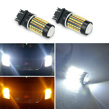 2x Dual Colors 3157 4157NA LED Switchback White Yellow Turn Signal Light Bulbs