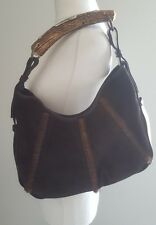 bnwot YSL Yves Saint Laurent Mumbasa Horn hobo bag.pony hair/suede.brown.£850