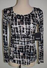 New Simply Vera Wang PS Top Long Sleeve Rayon Scoop Neck Multi Color Shirt