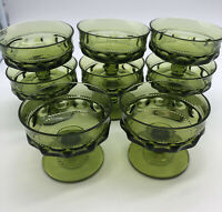 Indiana Glass King's crown thumbprint avacado green sherbert champagne glasses 8