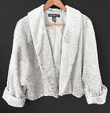 INC International Concepts Faux Fur Jacket 3/4 Sleeve Grey/Silver Size M
