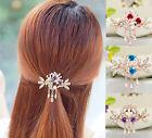 Tops Women Jewelry Crystal Rhinestone Hair Barrette Flower Hairpin NEW Clip