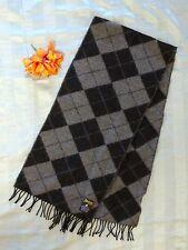 Johnstons of Elgin Scarf Black and Grey Argyle Tartan Pattern Plaid Wool Scarf