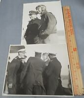 Lot of 2 Original WWII US Photos Large Fighter Pilots Admirals Navy 7.5 x 9.5