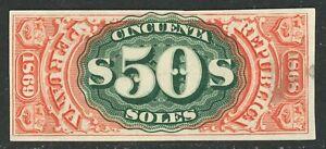 Peru Documentary Revenue 1868-69 50 Soles A&M 12Pb- Plate Proof MNG-