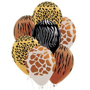 "Sempertex Safari Animal Print 12"" Latex Party Balloons for Helium or Air Fill"