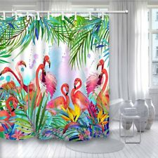 "Tropical Floral Leaves and Flamingo Bird Fabric Shower Curtain 84"" Extra Long"