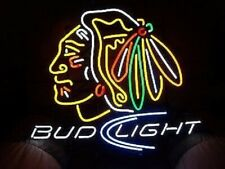 "New Chicago Blackhawks Bud Light Man Cave Neon Light Sign 32""x24"""