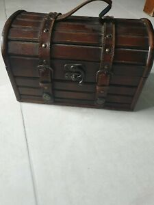 Treasure Chest Box Antique Vintage Wooden Leather Buckle Pirate Money Case