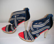 Limited Collection Blue & Grey Stripe Strappy Heels Size 3