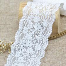 5Yards Ribbon Fabric DIY White Elastic Lace Trim Decor Flower Crafts Wide 9.5cm