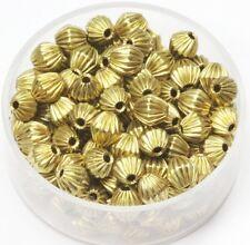 5 MM Solid Brass Bi-Cone Corrugated Hollow Beads  Pkg. 50 p.  , USA