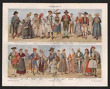 Chromo-Lithografie 1909: Volks-Trachten II. Kostüme Stoffe Seide Damast Brokat S